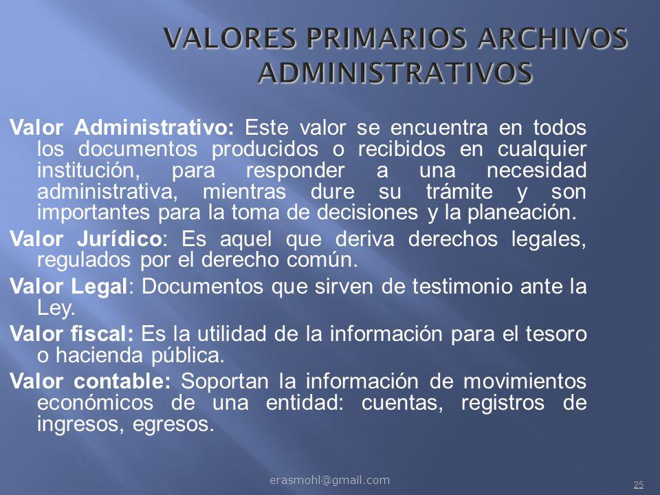 VALORES PRIMARIOS ARCHIVOS ADMINISTRATIVOS