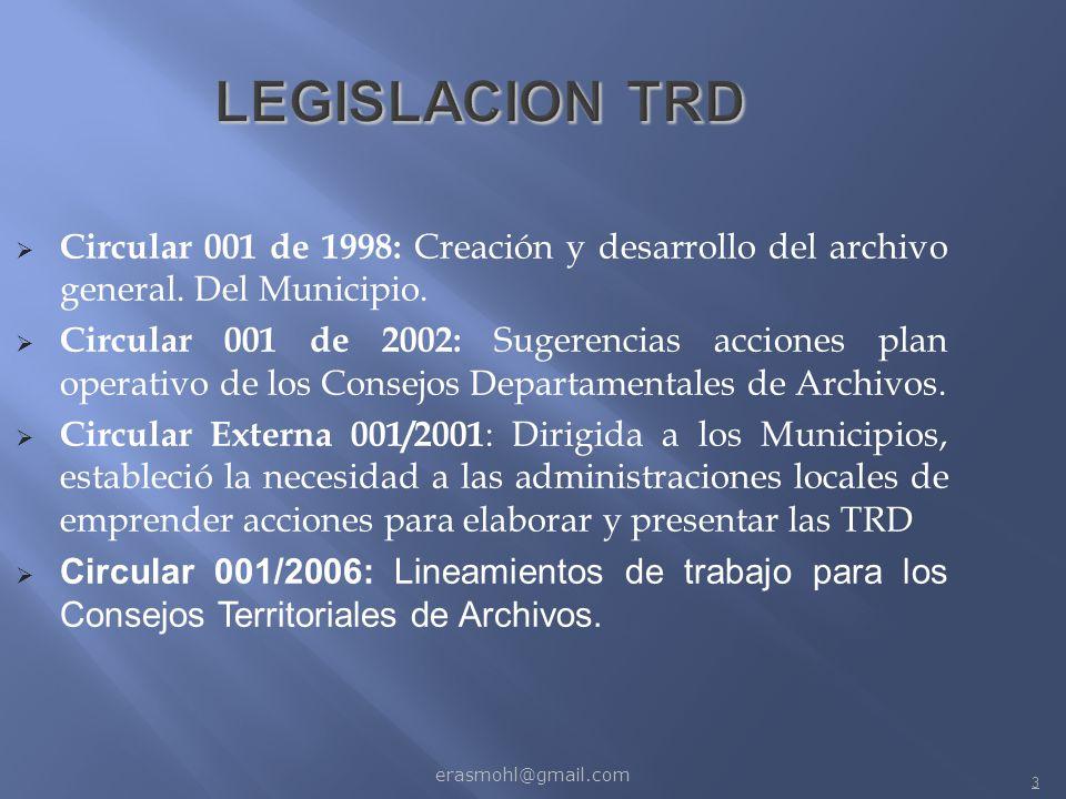 LEGISLACION TRD Circular 001 de 1998: Creación y desarrollo del archivo general. Del Municipio.