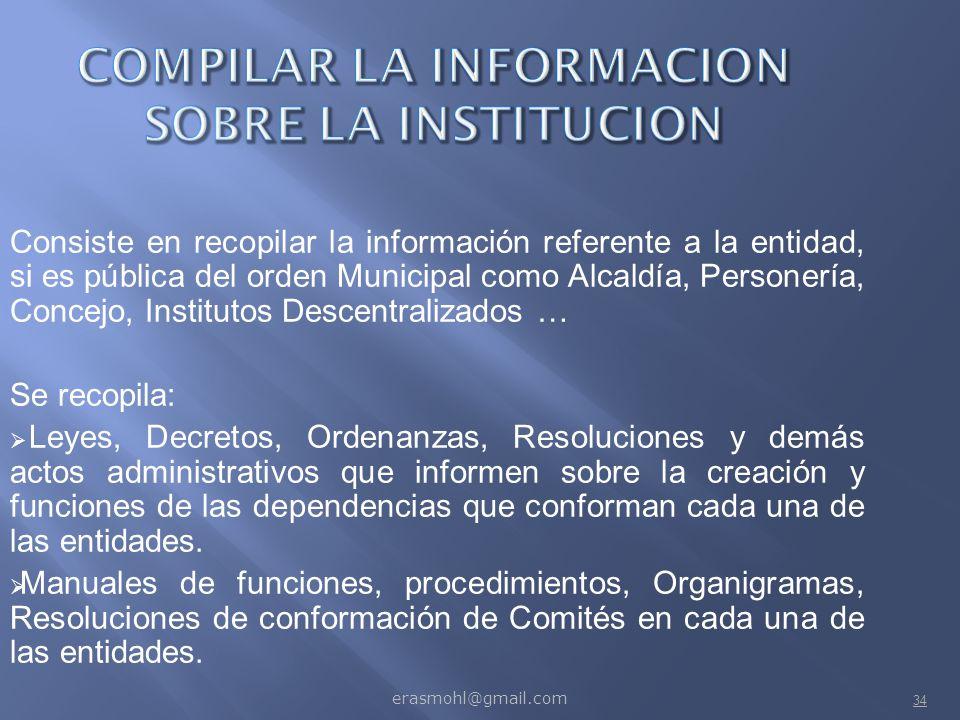 COMPILAR LA INFORMACION SOBRE LA INSTITUCION