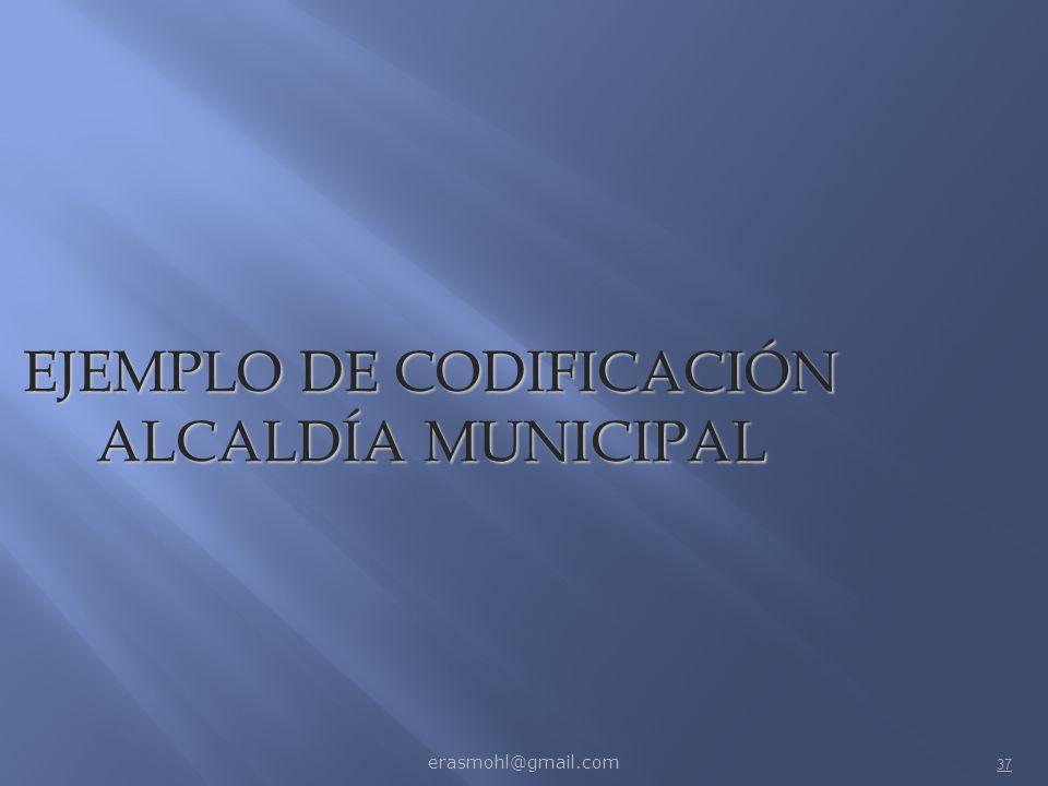 EJEMPLO DE CODIFICACIÓN ALCALDÍA MUNICIPAL