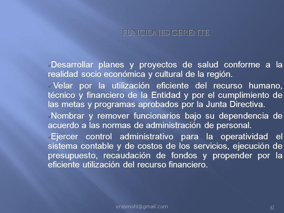 FUNCIONES GERENTE Desarrollar planes y proyectos de salud conforme a la realidad socio económica y cultural de la región.