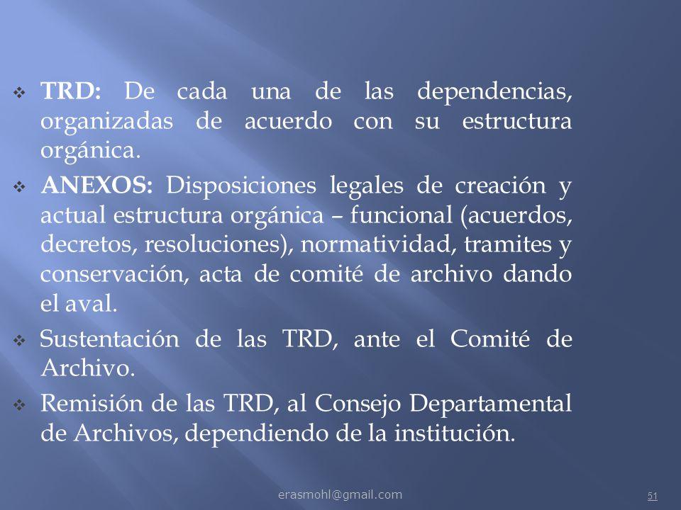 Sustentación de las TRD, ante el Comité de Archivo.