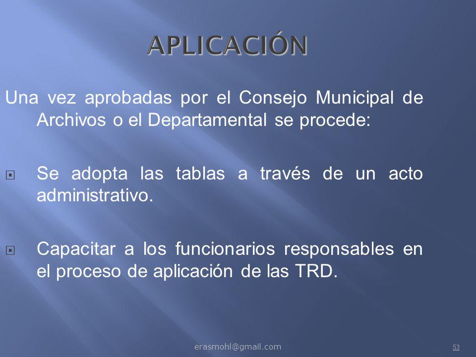 APLICACIÓN Una vez aprobadas por el Consejo Municipal de Archivos o el Departamental se procede: