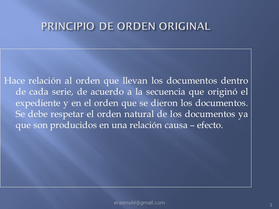 PRINCIPIO DE ORDEN ORIGINAL