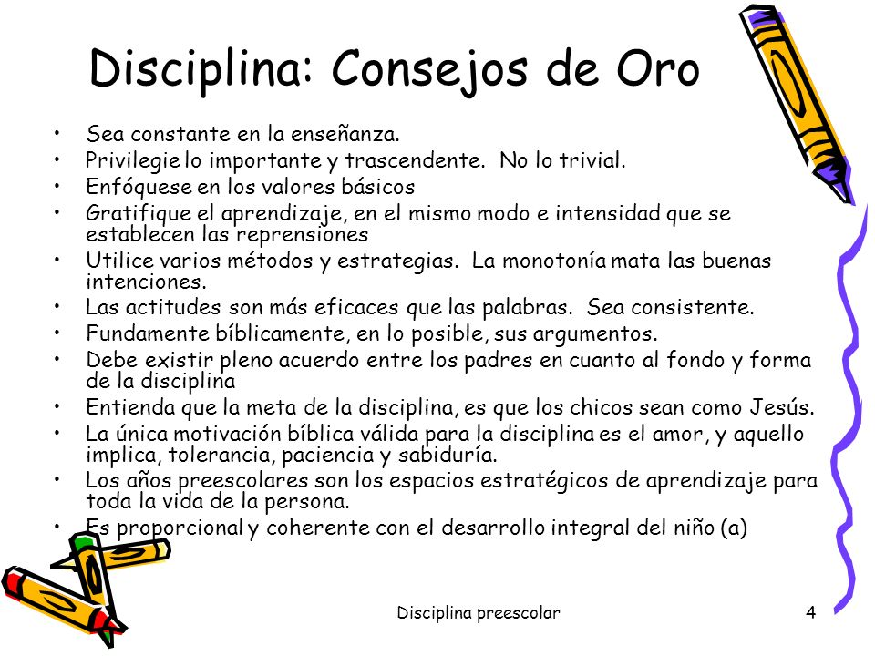 Disciplina: Consejos de Oro