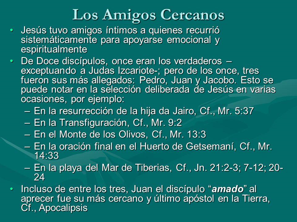 Los Amigos Cercanos Jesús tuvo amigos íntimos a quienes recurrió sistemáticamente para apoyarse emocional y espiritualmente.