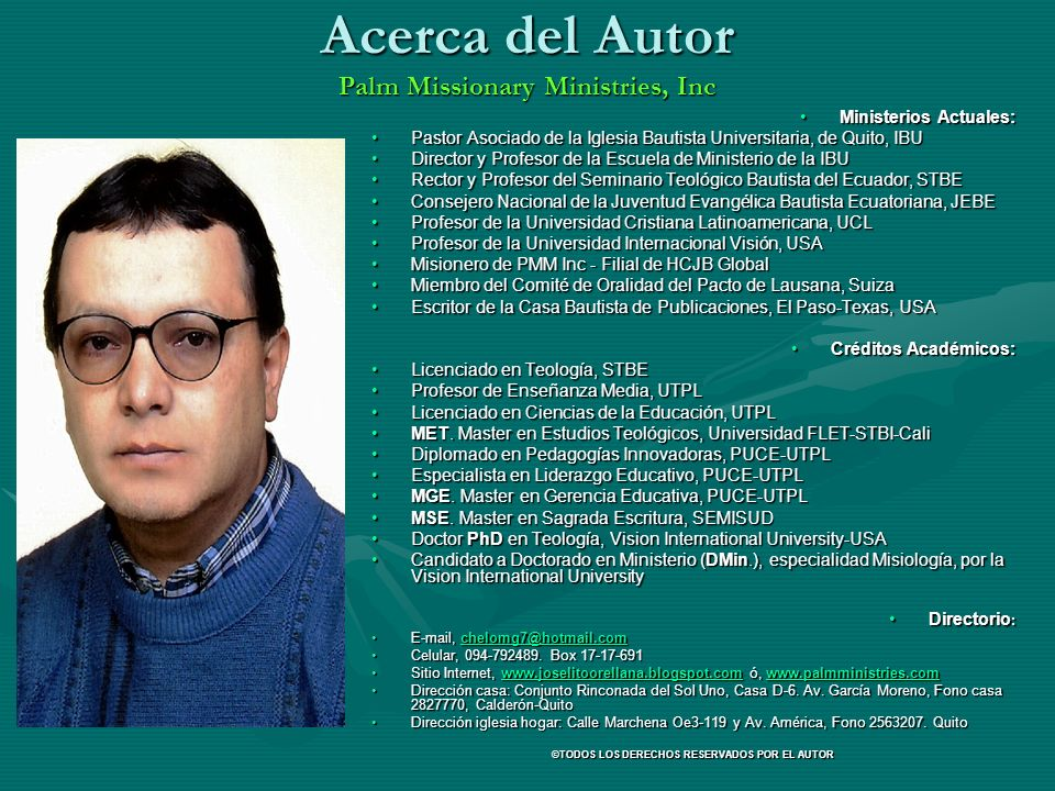 Acerca del Autor Palm Missionary Ministries, Inc