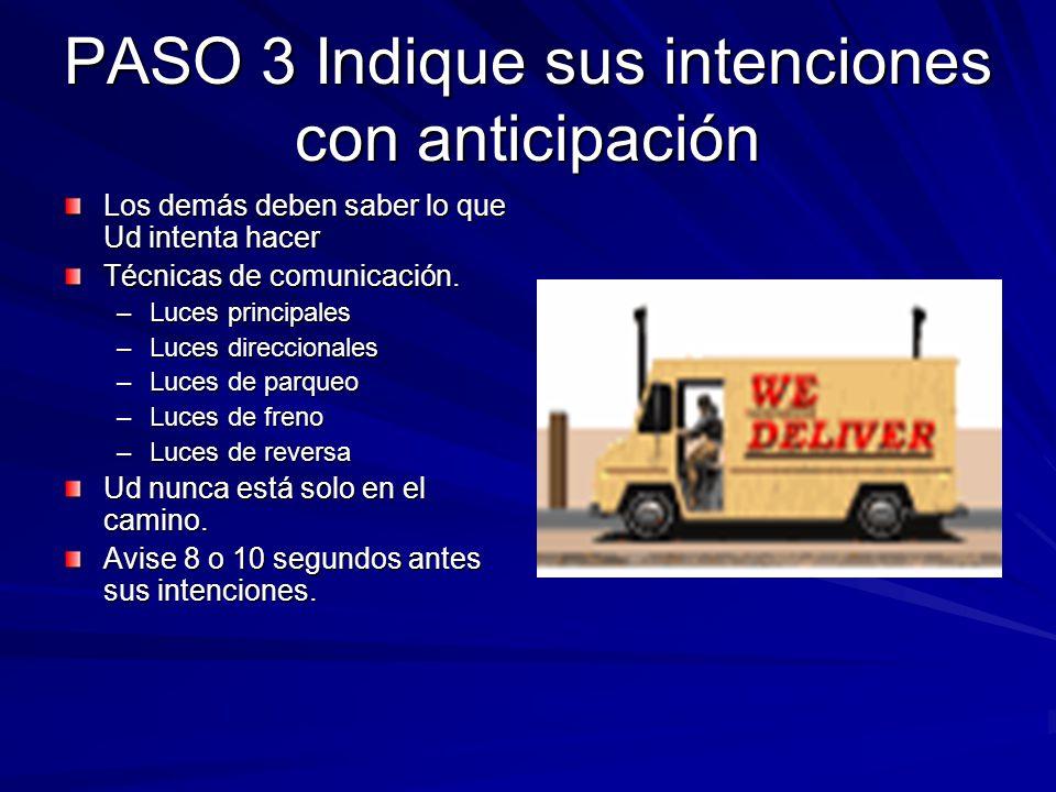 PASO 3 Indique sus intenciones con anticipación