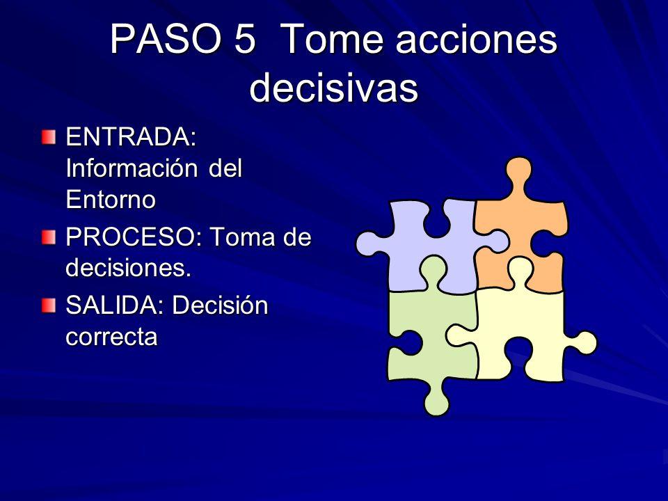PASO 5 Tome acciones decisivas