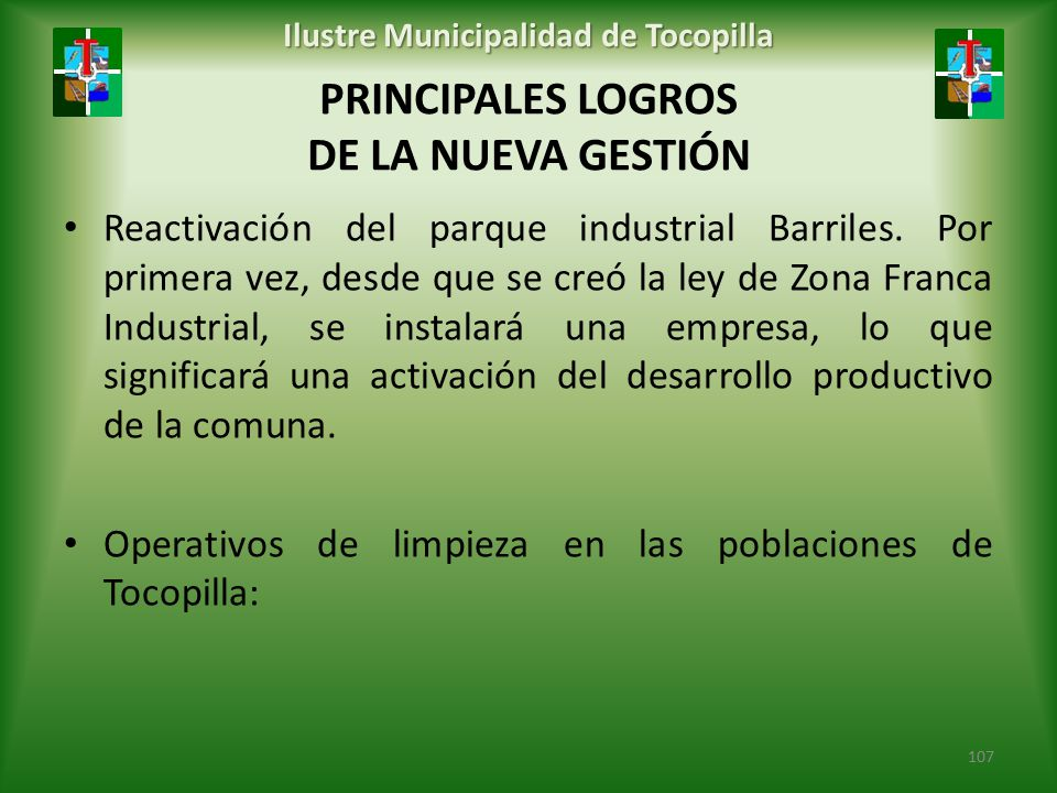 PRINCIPALES LOGROS DE LA NUEVA GESTIÓN
