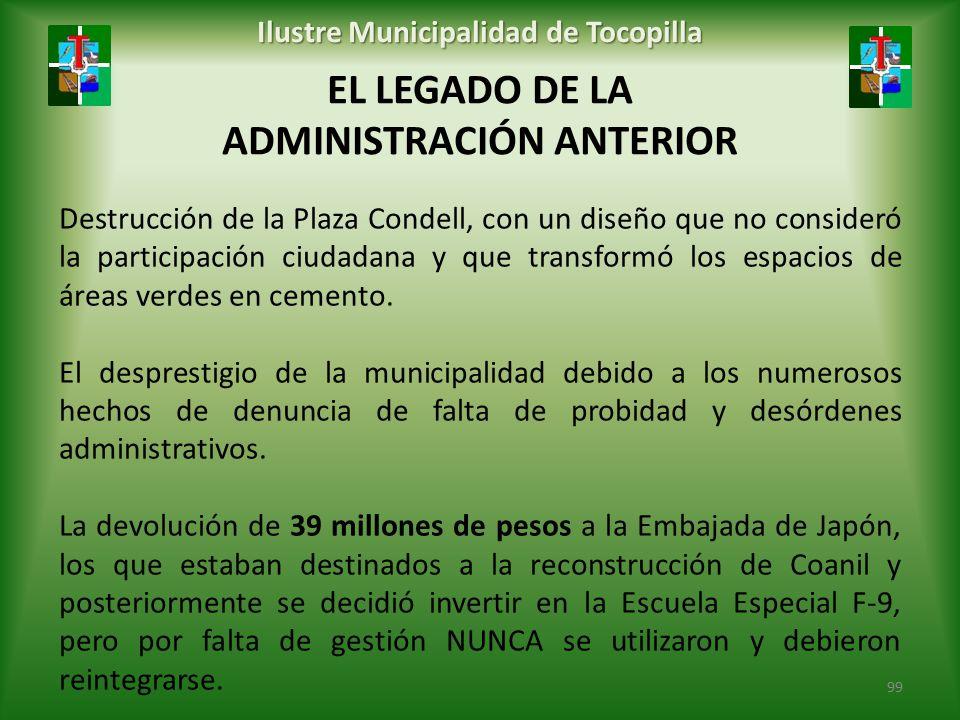 EL LEGADO DE LA ADMINISTRACIÓN ANTERIOR