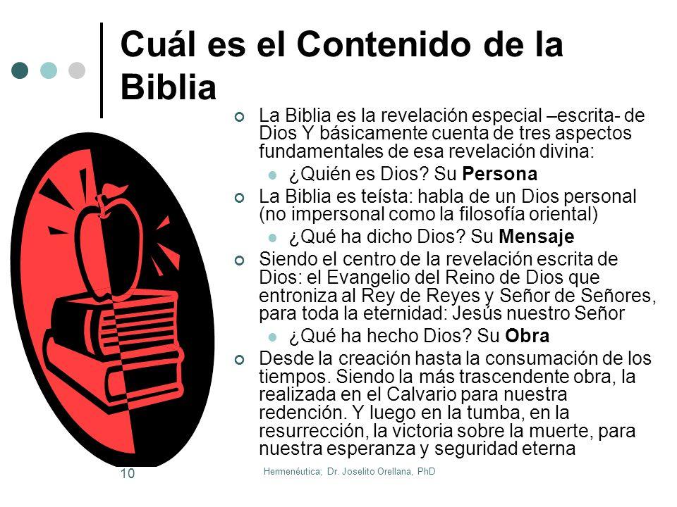 Cuál es el Contenido de la Biblia