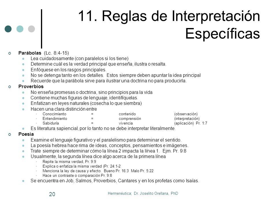 11. Reglas de Interpretación Específicas