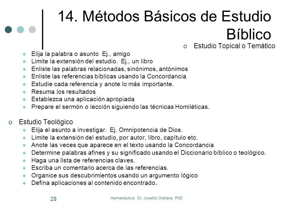 14. Métodos Básicos de Estudio Bíblico