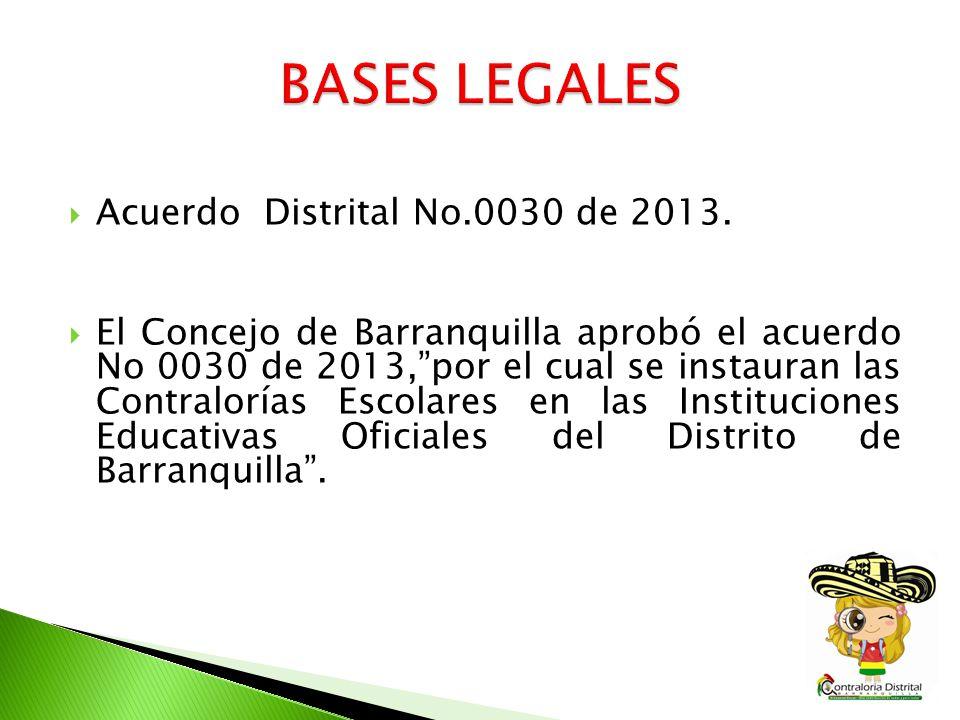 BASES LEGALES Acuerdo Distrital No.0030 de 2013.