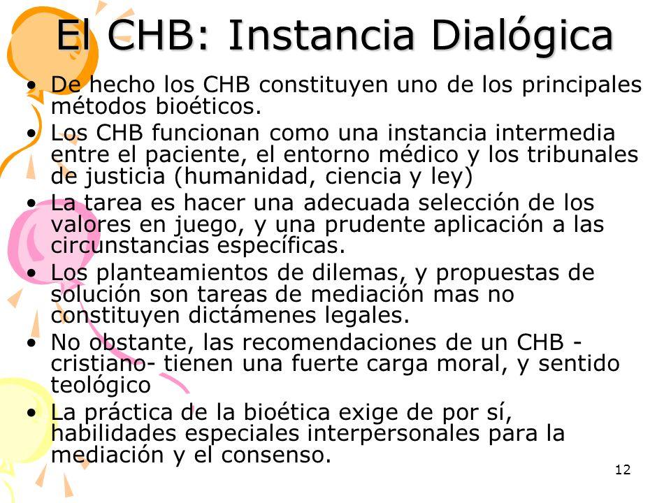 El CHB: Instancia Dialógica