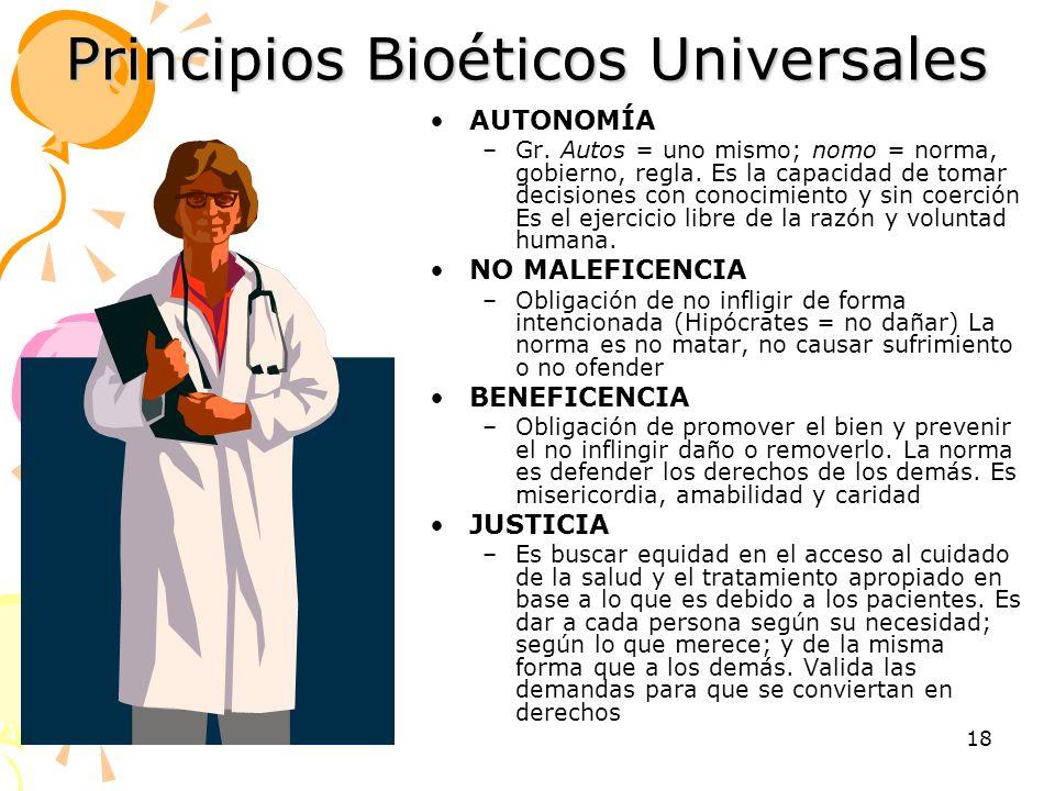 Principios Bioéticos Universales