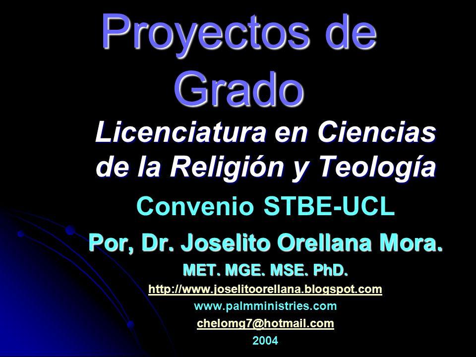 Proyectos de Grado Licenciatura en Ciencias de la Religión y Teología