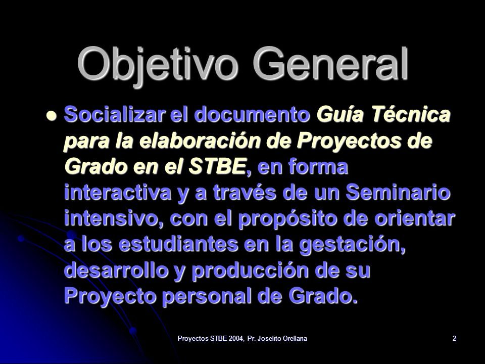 Proyectos STBE 2004, Pr. Joselito Orellana