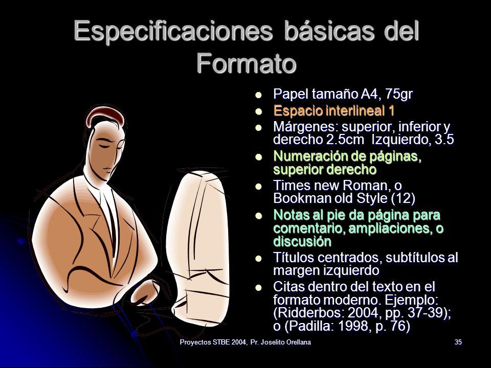 Especificaciones básicas del Formato
