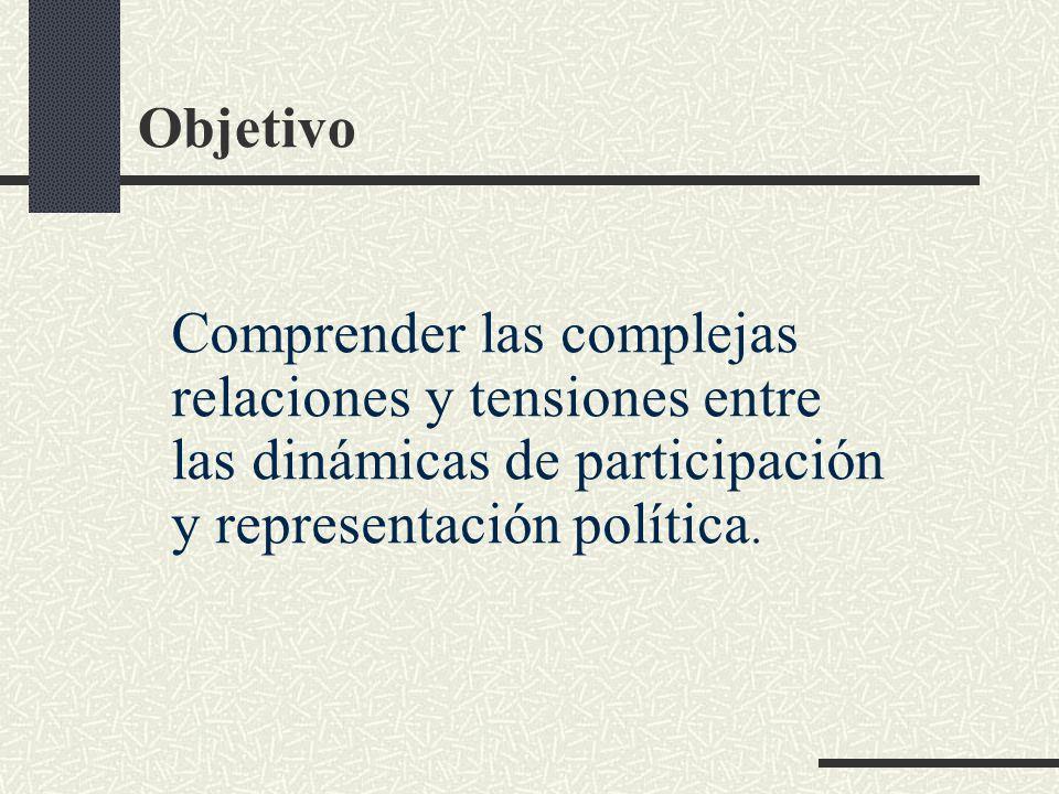 Objetivo Comprender las complejas relaciones y tensiones entre las dinámicas de participación y representación política.