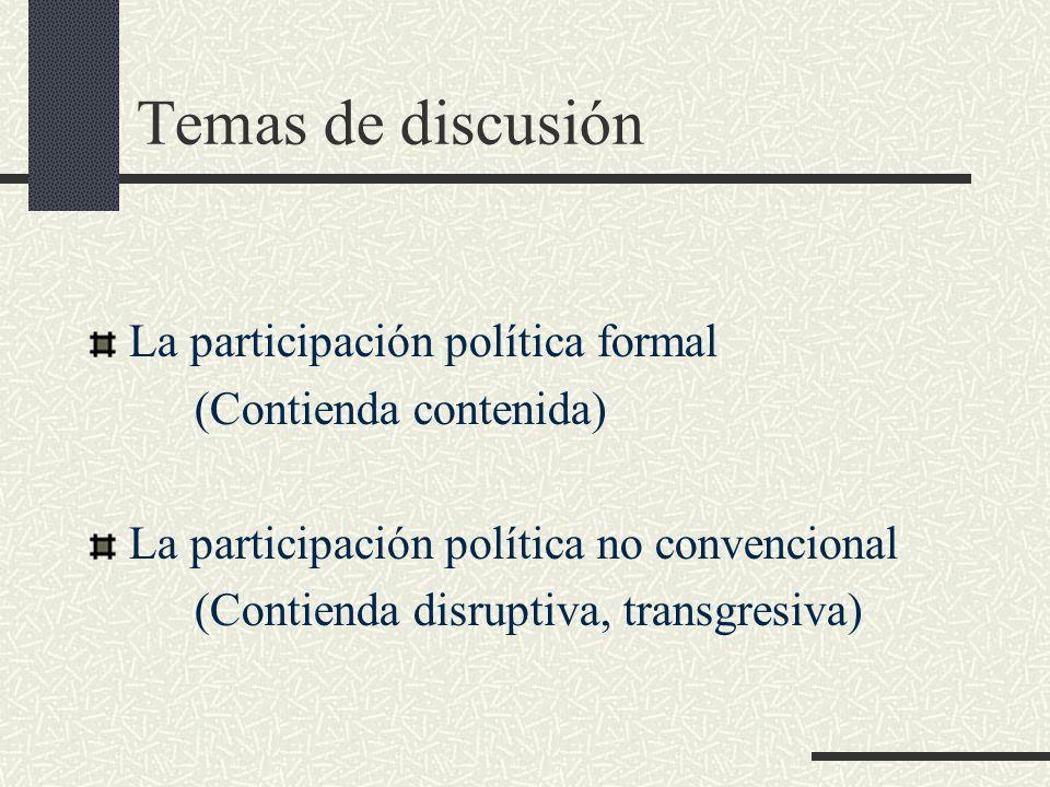 Temas de discusión La participación política formal
