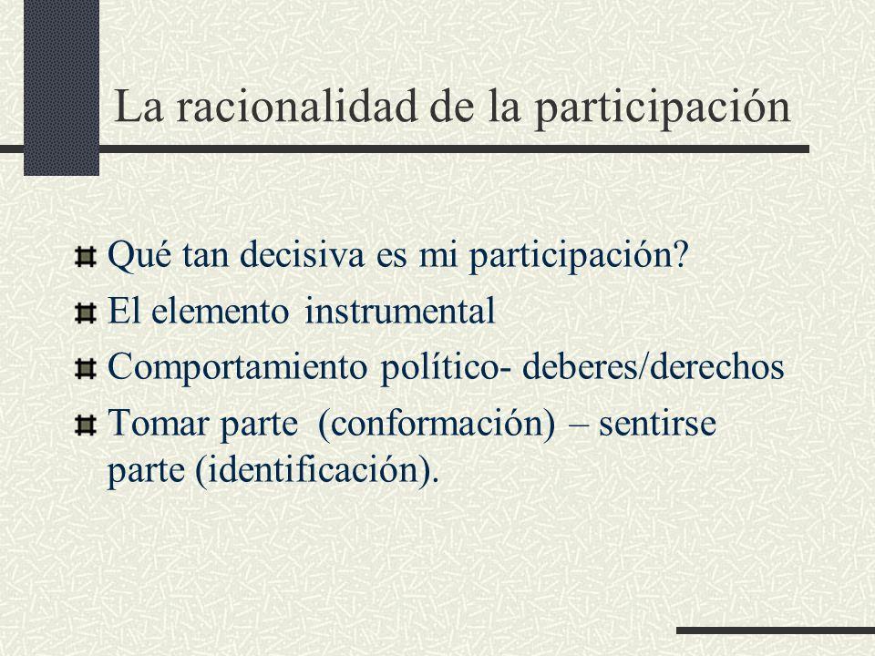 La racionalidad de la participación