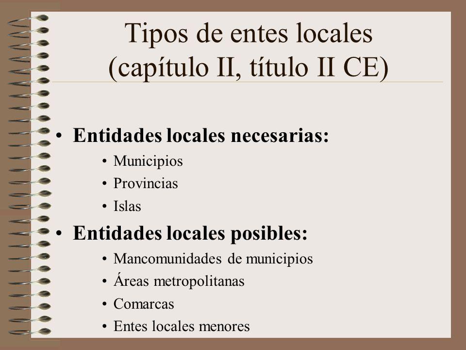 Tipos de entes locales (capítulo II, título II CE)