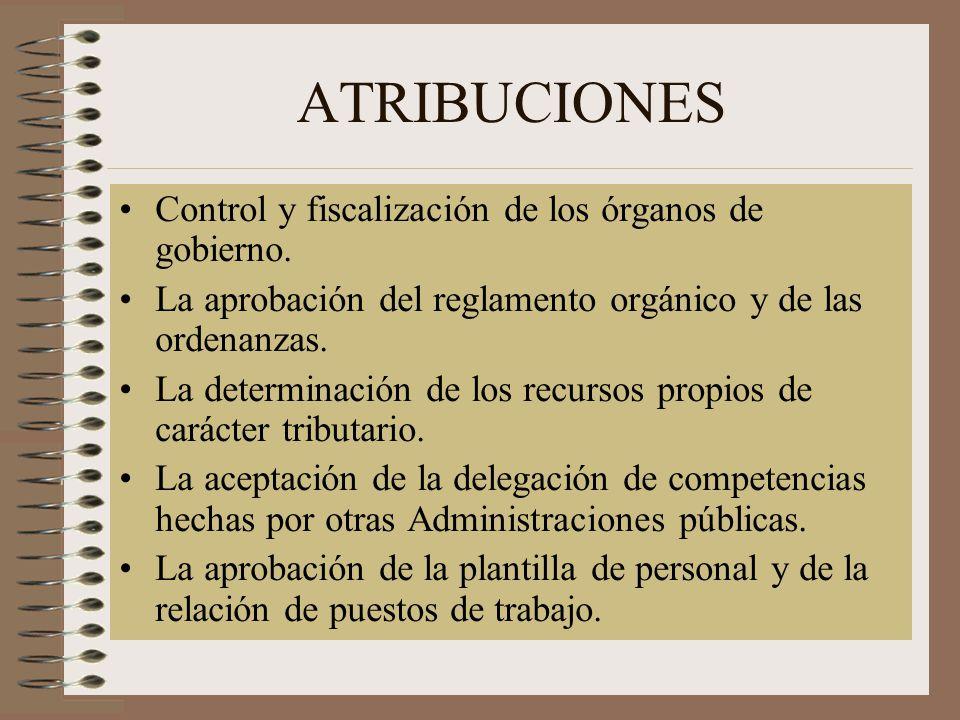 ATRIBUCIONES Control y fiscalización de los órganos de gobierno.