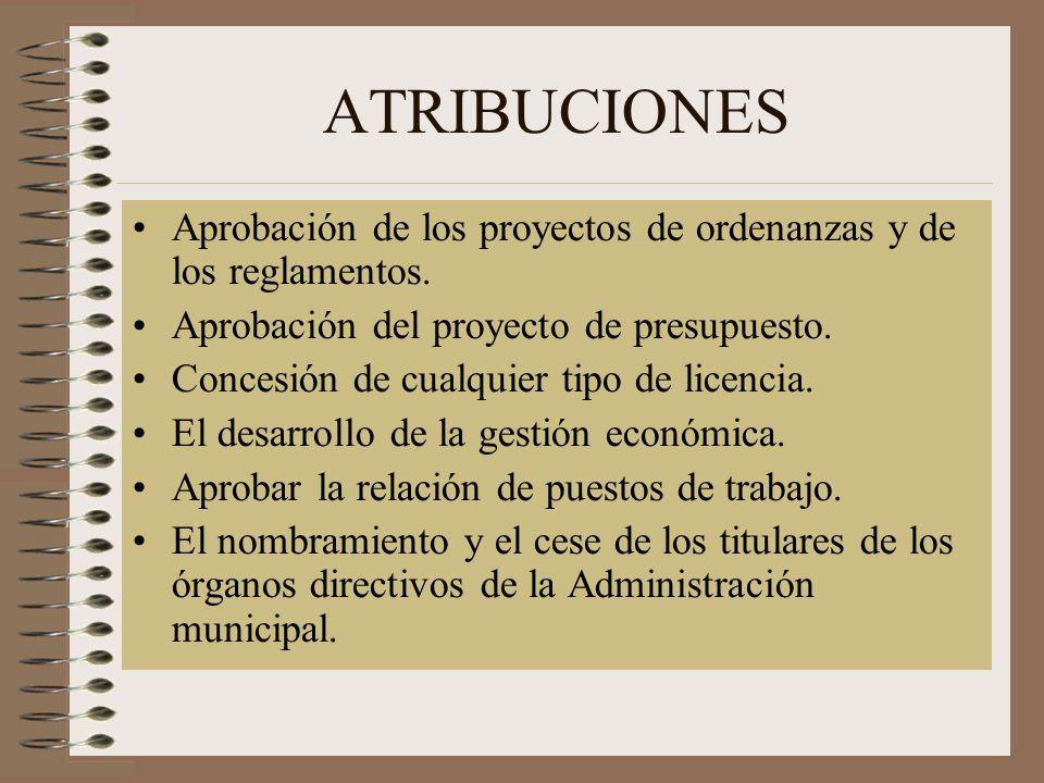 ATRIBUCIONES Aprobación de los proyectos de ordenanzas y de los reglamentos. Aprobación del proyecto de presupuesto.