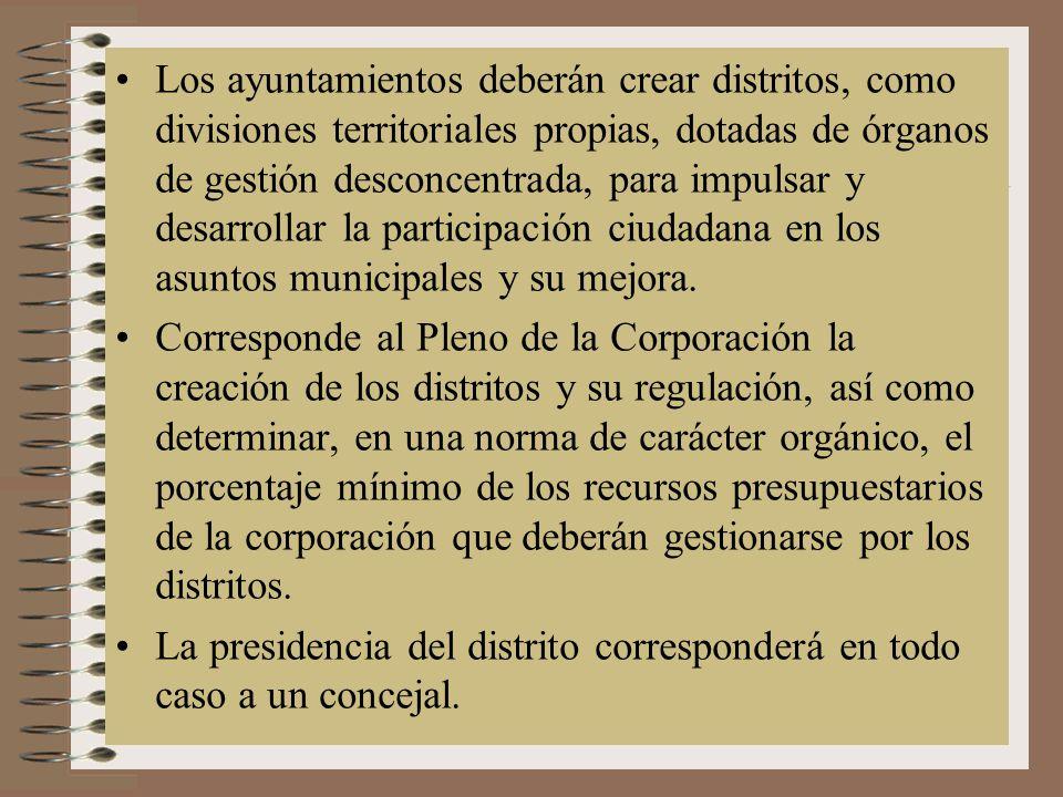 Los ayuntamientos deberán crear distritos, como divisiones territoriales propias, dotadas de órganos de gestión desconcentrada, para impulsar y desarrollar la participación ciudadana en los asuntos municipales y su mejora.