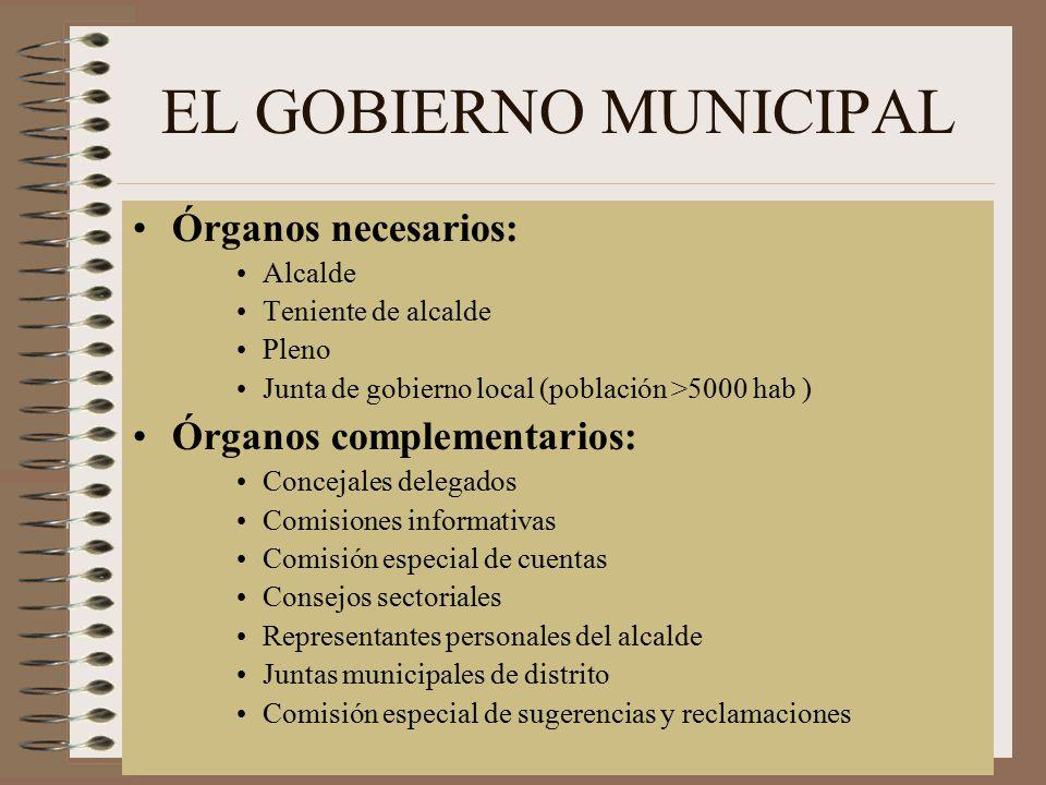 EL GOBIERNO MUNICIPAL Órganos necesarios: Órganos complementarios: