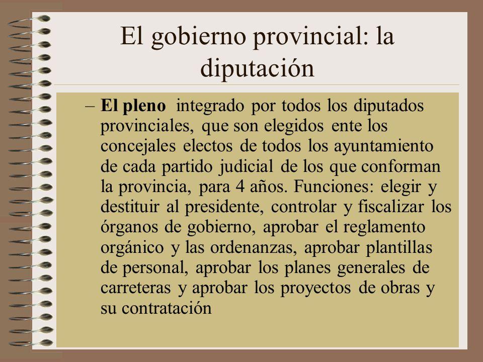 El gobierno provincial: la diputación