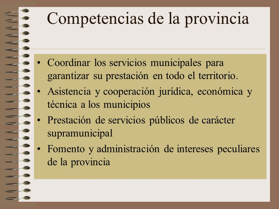 Competencias de la provincia