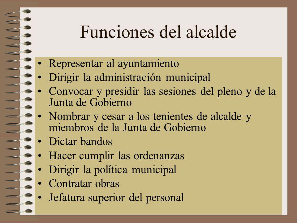 Funciones del alcalde Representar al ayuntamiento