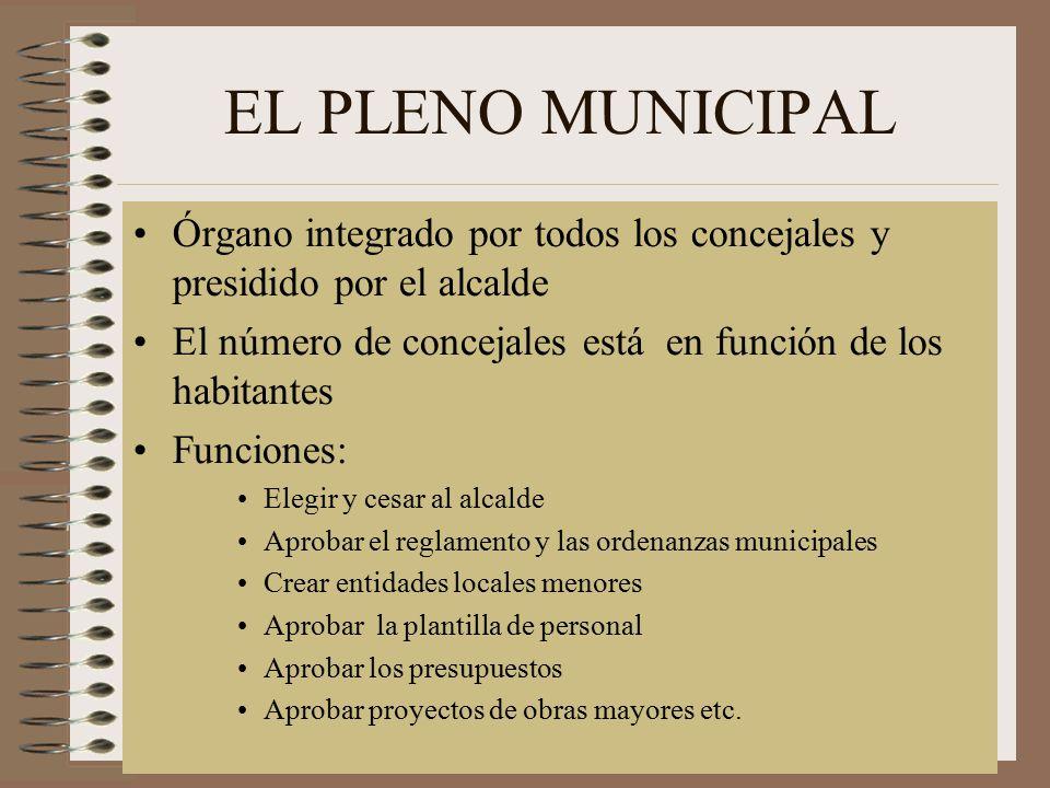 EL PLENO MUNICIPAL Órgano integrado por todos los concejales y presidido por el alcalde.