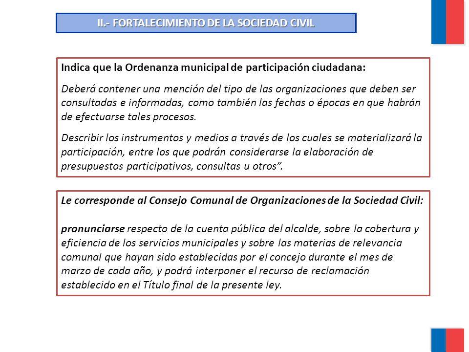 II.- FORTALECIMIENTO DE LA SOCIEDAD CIVIL