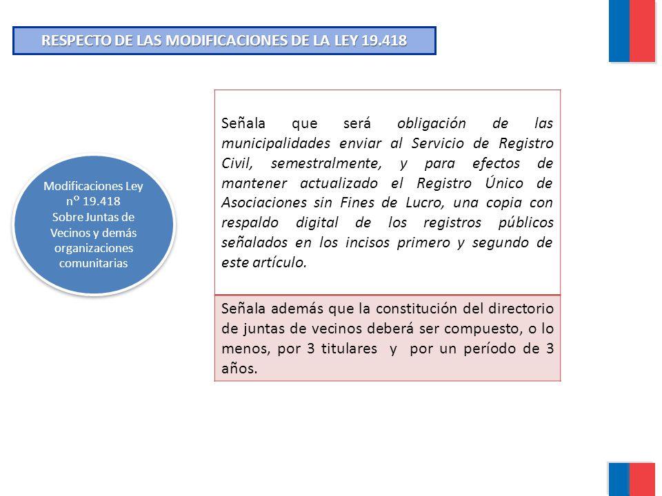 RESPECTO DE LAS MODIFICACIONES DE LA LEY 19.418