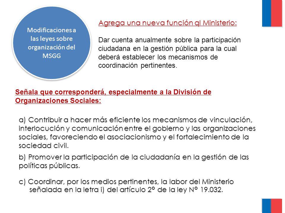 Modificaciones a las leyes sobre organización del MSGG