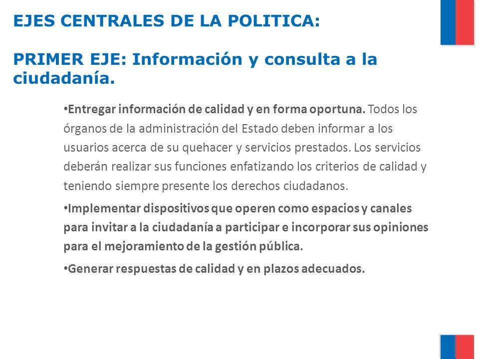 EJES CENTRALES DE LA POLITICA: PRIMER EJE: Información y consulta a la ciudadanía.