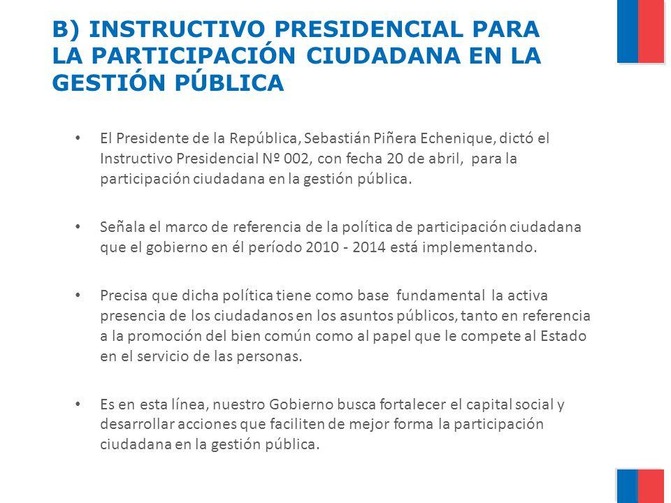 B) INSTRUCTIVO PRESIDENCIAL PARA LA PARTICIPACIÓN CIUDADANA EN LA GESTIÓN PÚBLICA