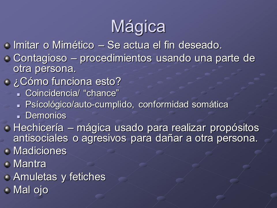 Mágica Imitar o Mimético – Se actua el fin deseado.