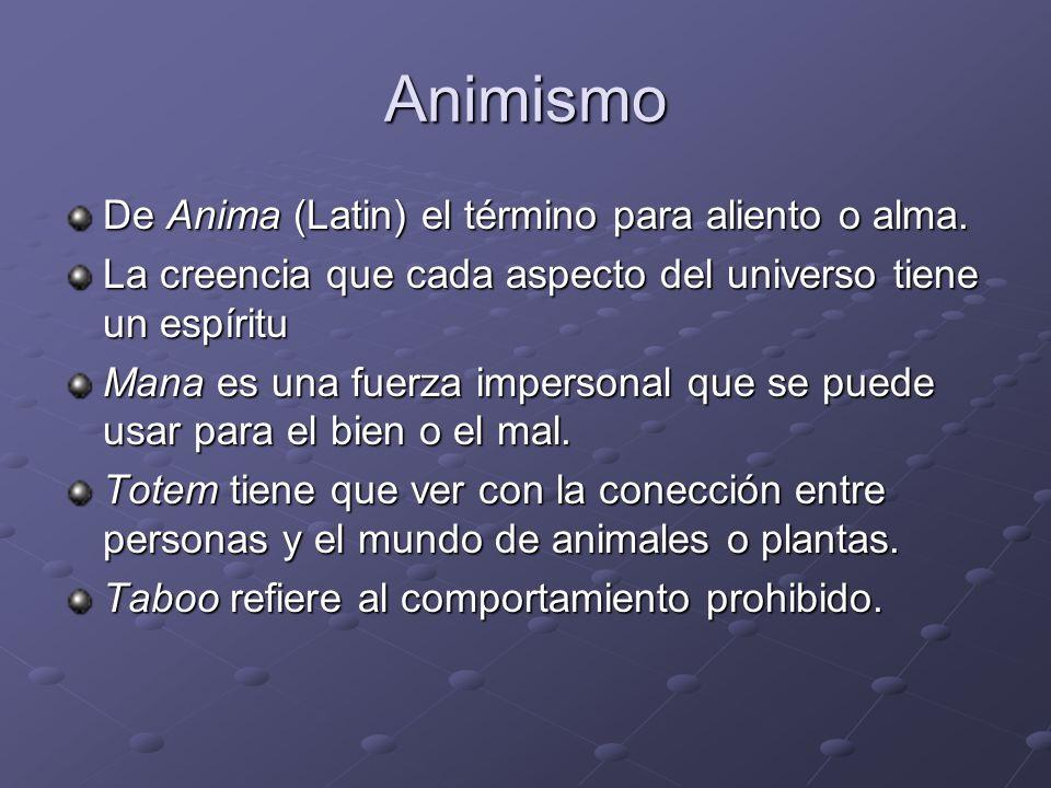 Animismo De Anima (Latin) el término para aliento o alma.