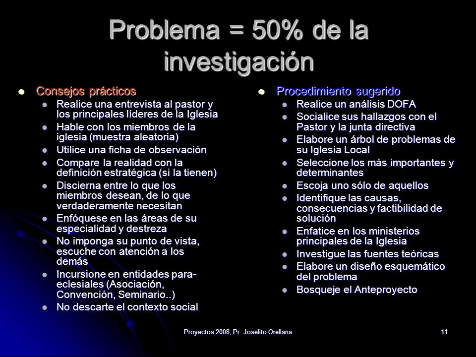 Problema = 50% de la investigación