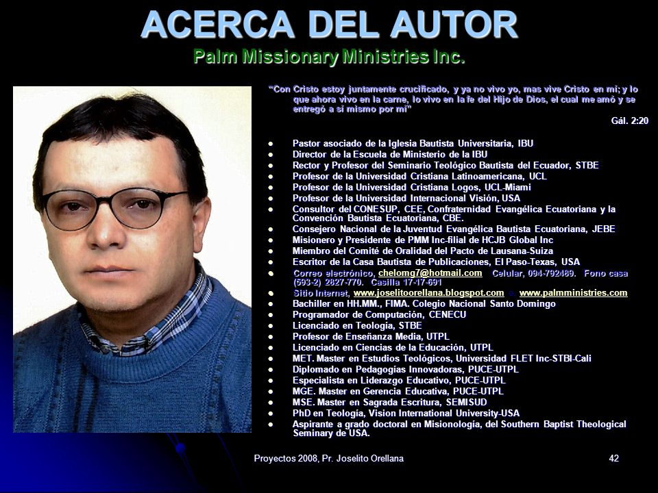 ACERCA DEL AUTOR Palm Missionary Ministries Inc.