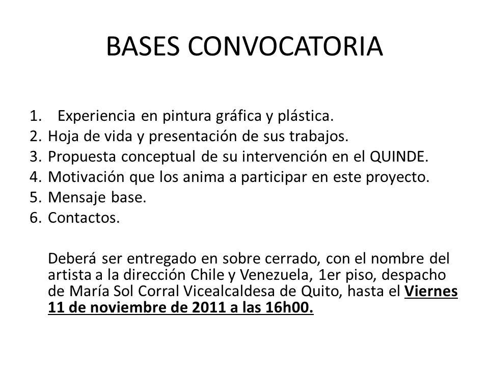 BASES CONVOCATORIA 1. Experiencia en pintura gráfica y plástica.