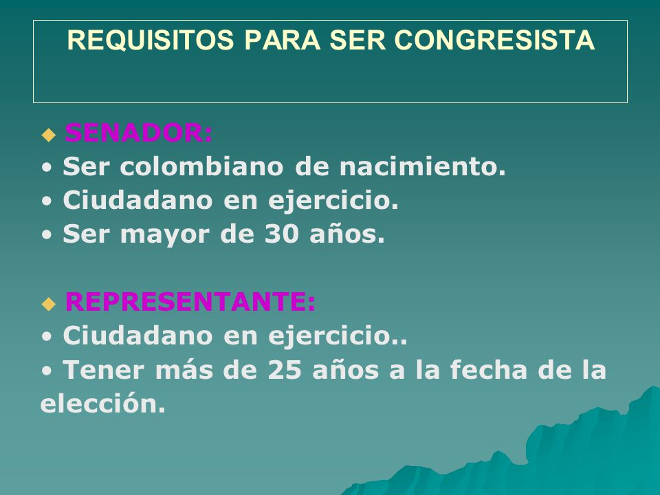 REQUISITOS PARA SER CONGRESISTA