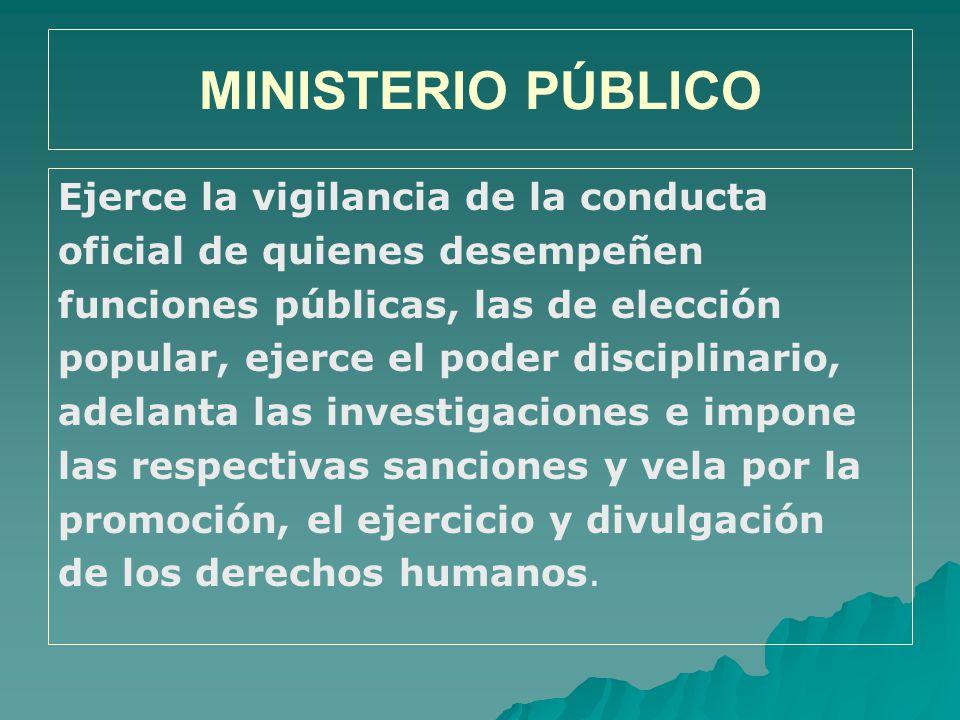 MINISTERIO PÚBLICO Ejerce la vigilancia de la conducta