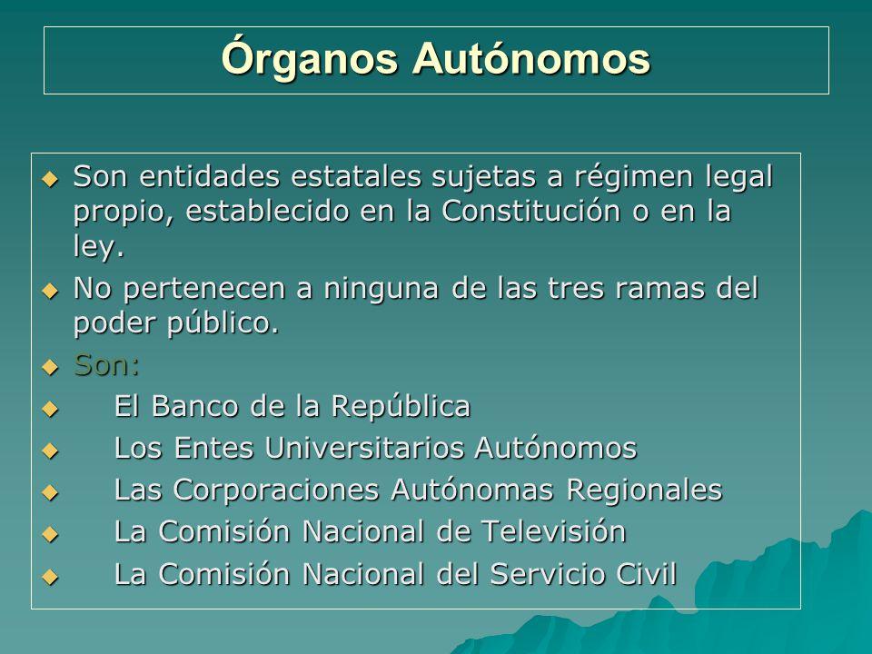 Órganos Autónomos Son entidades estatales sujetas a régimen legal propio, establecido en la Constitución o en la ley.