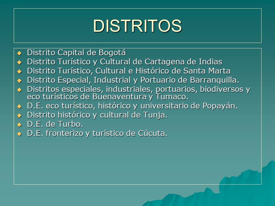 DISTRITOS Distrito Capital de Bogotá